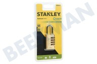 S742-052 Stanley Hangslot Combination Brass 4 cijferig 30mm