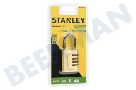 S742-053 Stanley Hangslot Combination Brass 4 cijferig 40mm