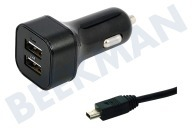Adapt 10200  Autolader Mini USB, Output 5V / 2A, 100cm GSM, Smartphone, Tablet