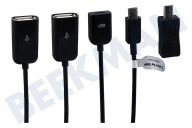 Point Of View 22520  OTG kabel Micro-USB (M) naar 2x USB-A en 1x Micro-USB (F) Micro-USB en Mini-USB