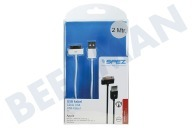 Spez 10341  USB Kabel Apple Dock connector, Wit, 200cm Apple iPhone, iPad, iPod