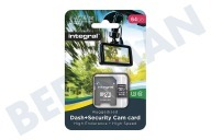 Integral  INMSDX64G10-DSCAM 64GB Dash+Security Camera MicroSDHC Card Class 10 Dash Cam en beveiligingscamera