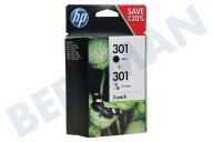 HP Hewlett-Packard 2509173  HP 301 Combi Black + Color N9J72AE Deskjet 1050,2050,3050A
