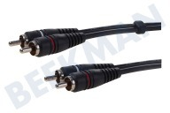 Tulp Kabel 2x RCA Male-2x RCA Male, 1.2 meter, Verguld