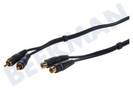 Tulp Kabel 2x RCA Male-2x RCA Female, 1.2 meter, Verguld