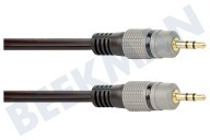Jack Kabel 2x 3.5mm Stereo Male, 2.5 meter, Verguld