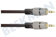 Jack Kabel 2x 3.5mm Stereo Male, 10.0 meter, Verguld