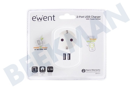 Ewent  Ewent 2-Poorts USB-lader