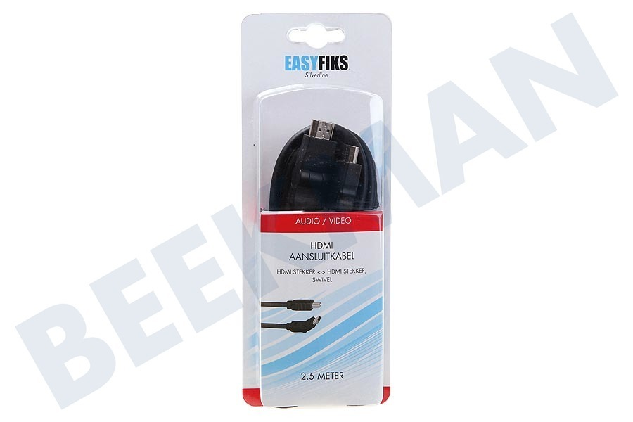 Easyfiks  HDMI Kabel 1.4 High Speed + Ethernet, 2.5 Meter, Swivel